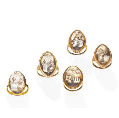 Five late 18th century mourning rings (5)
