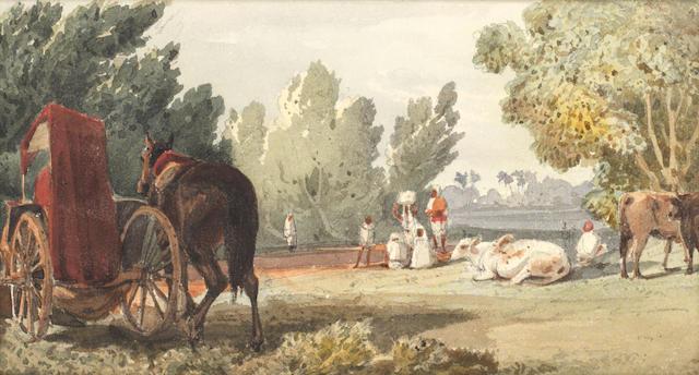 William Carpenter (British, 1818-1899) On the Benares road unframed