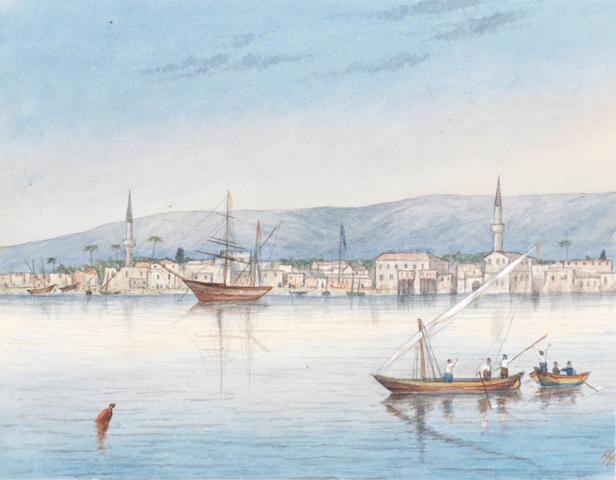 Lieutenant Francis Henry Boyer (British, 1854-1926) Cyprus: A friendly islander?; Limasol one 17 x 10.5cm (6 11/16 x 4 1/8in), the other 12.5 x 16cm (4 15/16 x 6 5/16in).(2)