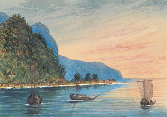 Lieutenant Francis Henry Boyer (British, 1854-1926) Japan: Japanese Funi, Vries Island; Odo Bay, Sado Island; Buddhist Temple, Ninato Bay, Sado Island; Waterfall in Yesso; Funi or trading vessel; Volcano Bay, Sado Island (sheet size) (3)