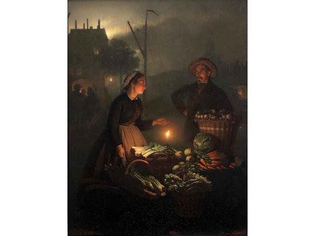 Petrus van Schendel (Belgian 1806-1870) The vegetable stall by candlelight
