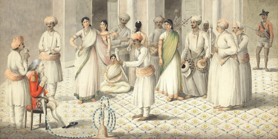 An English officer, Captain Lyons of the Bengal Infantry, seated smoking a hookah, watching nautch girls performing, with a retinue of Indian musicians and servants Calcutta, by an Indian artist, after an original painting of 1801 by Captain Crockatt of the Bengal Engineers, circa 1810-12