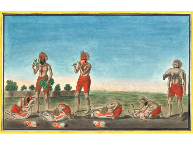 The famous sheep-eating fakir, Jurah Geer Berah Geer Calcutta, circa 1800