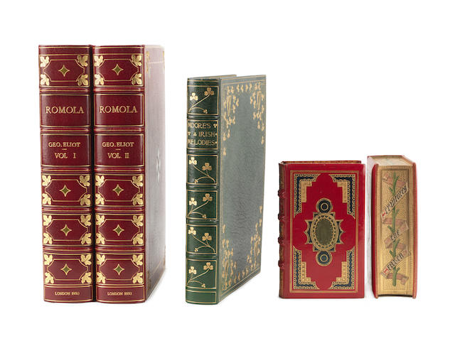 BINDINGS MOORE (THOMAS) Irish Melodies. Illustrated by D. Maclise; George Eliot, Romola, 2 vol.,; Bible and BOCP (5)