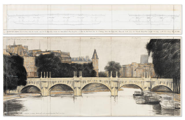 Christo (American, born 1935) The Pont Neuf Wrapped (Project For Paris), in two parts 1979