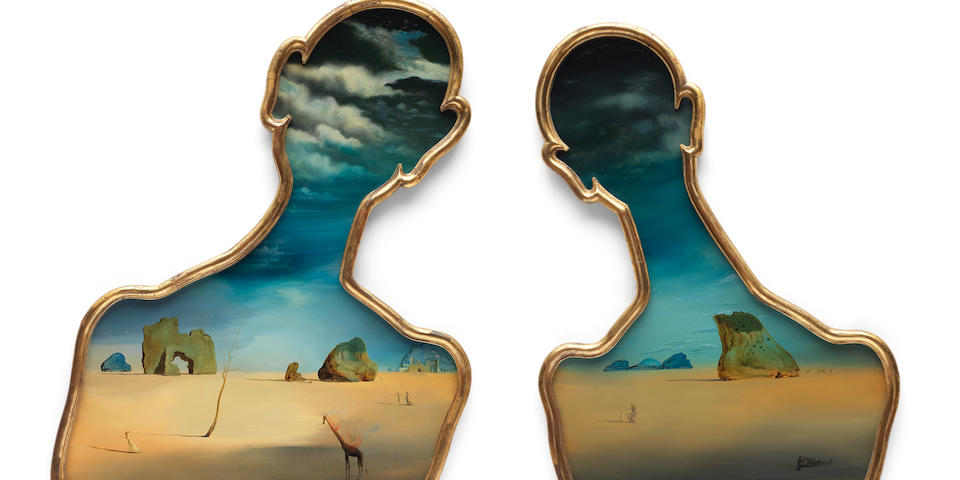 SALVADOR DALÍ (1904-1989) Couple aux têtes pleines de nuages 94.5 x 74.5cm (37 3/16 x 29 5/16in) (left panel, including the artist's frame) 87.7 x 65.8cm (34 1/2 x 25 7/8in) (right panel, including the artist's frame) (Painted in 1937)