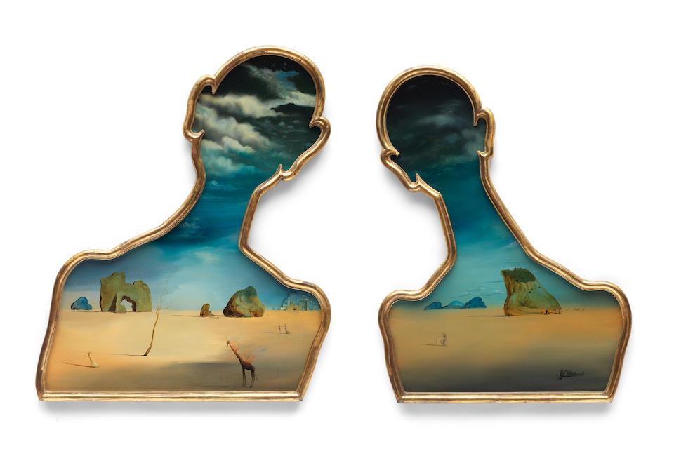 SALVADOR DALÍ (1904-1989) Couple aux têtes pleines de nuages 94.5 x 74.5cm (37 3/16 x 29 5/16in) (left panel, including the artist's frame) 87.7 x 65.8cm (34 1/2 x 25 7/8in) (right panel, including the artist's frame) (Painted in 1937)