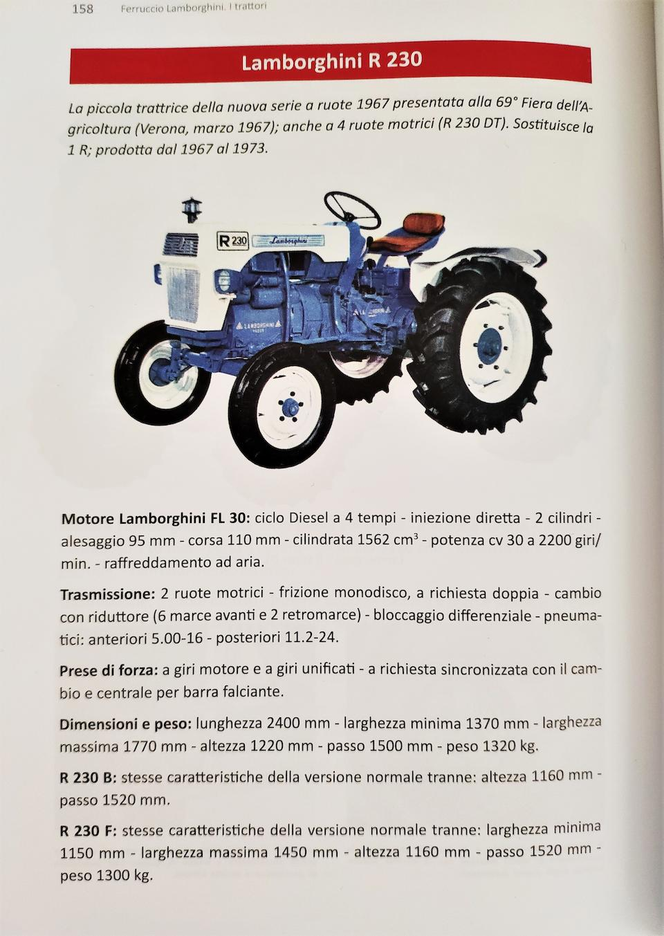 1969 Lamborghini R230 Tractor  Chassis no. FL30 32295
