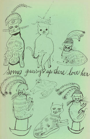 """WARHOL (ANDY) Holy Cats by Andy Warhol's Mother, FIRST EDITION, INSCRIBED by Julia Warhol """"To Jane"""" on front free endpaper, [New York, Privately Printed, 1954]"""