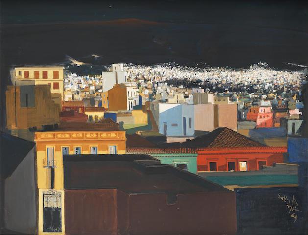 Spyros Vassiliou (Greek, 1902-1985) Athens at night  114 x 147.5 cm.