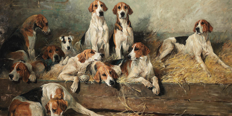 John Emms (British, 1843-1912) The Bitch Pack of the Meath Foxhounds