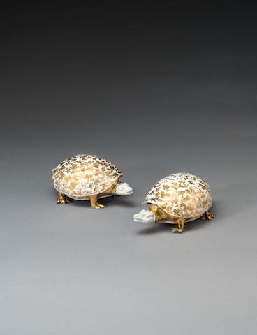 A very rare pair of Meissen tortoise-shaped boxes and covers, circa 1728