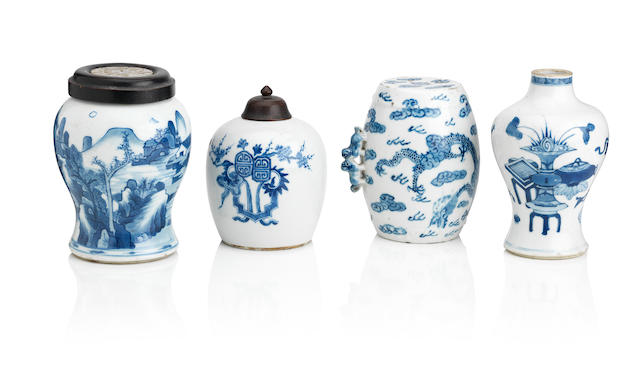 Three blue and white vases and one drum-shaped vessel Qing Dynasty (6)