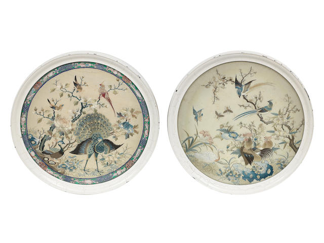 A pair of double-sided circular embroidered panels Early 19th century