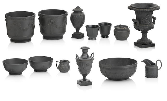 A collection of black basalt wares 18th, 19th and 20th century