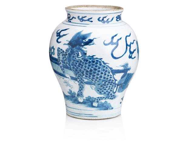 A blue and white jar Transitional period