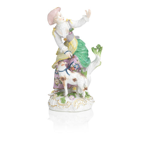 A Meissen figure of a shepherdess Circa 1770