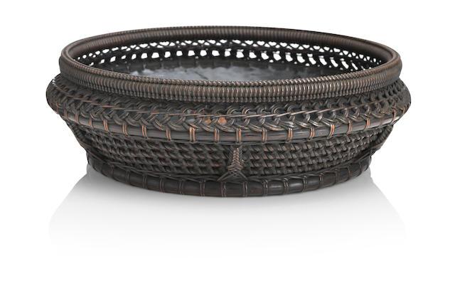 A shallow woven bamboo basket and mat Meiji era (4)