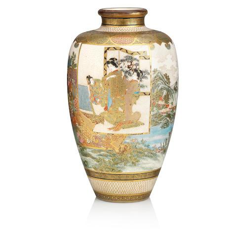 A Satsuma vase by Kozan Meiji era