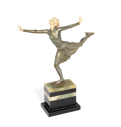 Ferdinand  Preiss  (German, 1892-1943) 'The Skater': An Art Deco Cold-Painted and Carved Ivory Figure, circa 1925