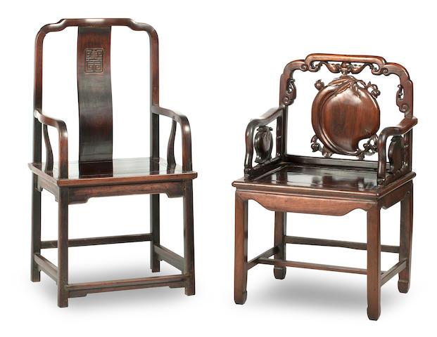 Two hongmu armchairs 19th/20th century