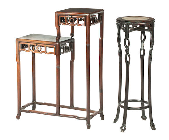 A hongmu double-stand; together with a marble-inlaid hongmu tall stand Late 19th/early 20th century (2)