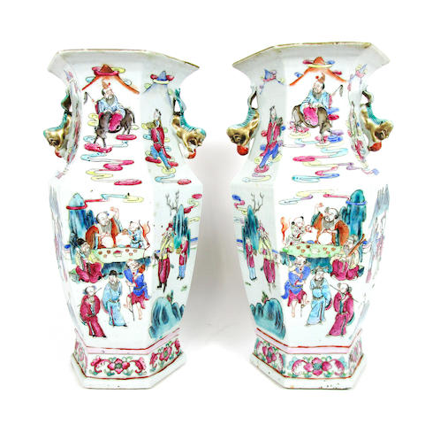 A mirrored pair of famille rose vases 19th century (2)