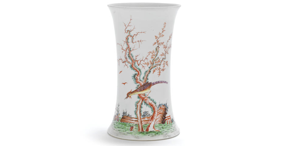 A fine and early Worcester beaker vase, circa 1754