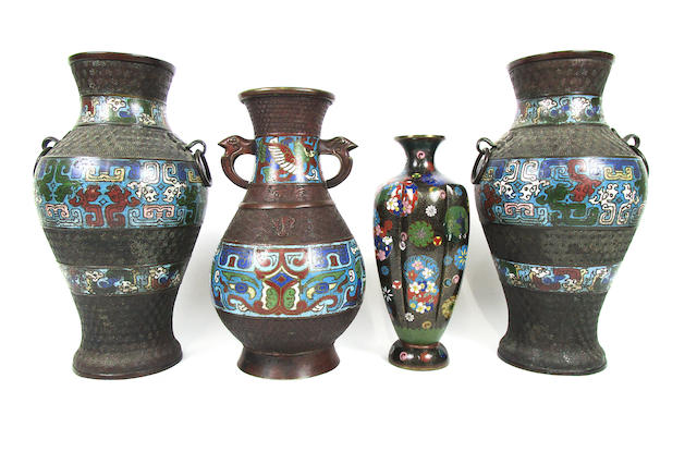 A pair of bronze and enamel vases, hu, a single example similar and a Japanese cloisonné enamel vase 19th century (4)