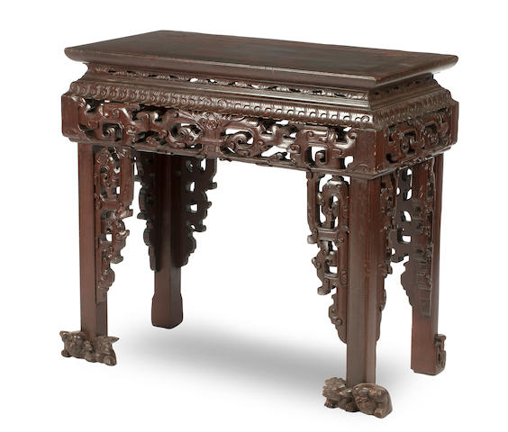 A lacquered soft-wood archaistic-style altar table  19th century