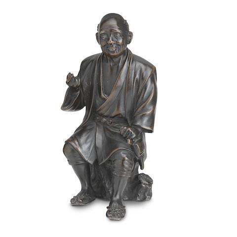 A bronze okimono By Toyotoshi/Hoju, Meiji Era