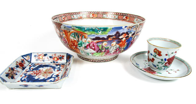 A famille rose punch bowl, an Imari dish and tea bowl and saucer 18th century