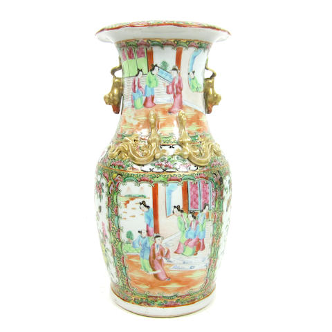 A Canton export famille rose vase Late 19th century