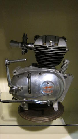A Moto Parilla 175cc engine and gearbox unit