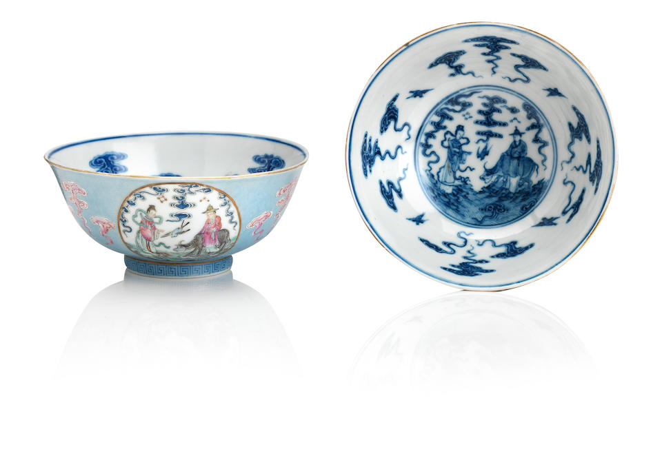 A pair of famille rose blue-ground 'medallion' bowls Bearing Daoguang seal marks but later (5)