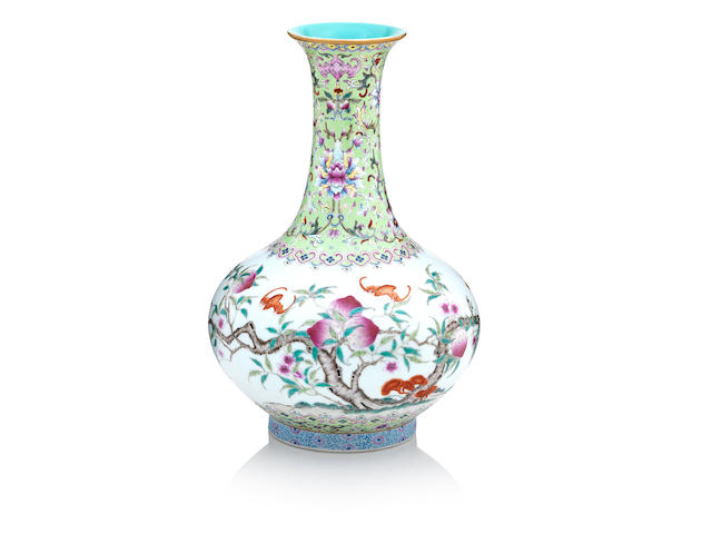 A famille rose 'nine peaches vase' Bearing a Qianlong seal mark but Republic period