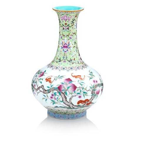 A famille rose 'nine peaches vase' Bearing a Qianlong seal mark but Republic period