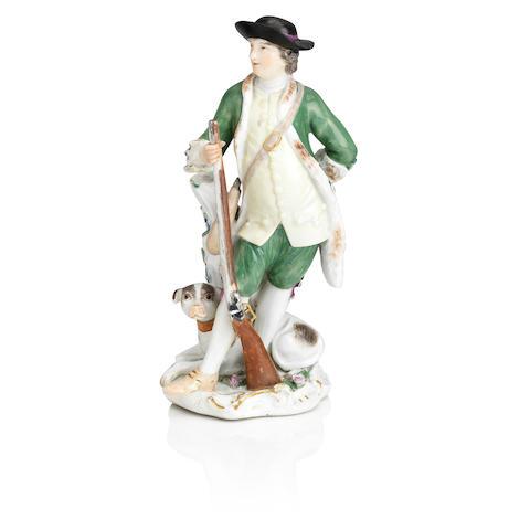 A Meissen figure of a hunter  18th century