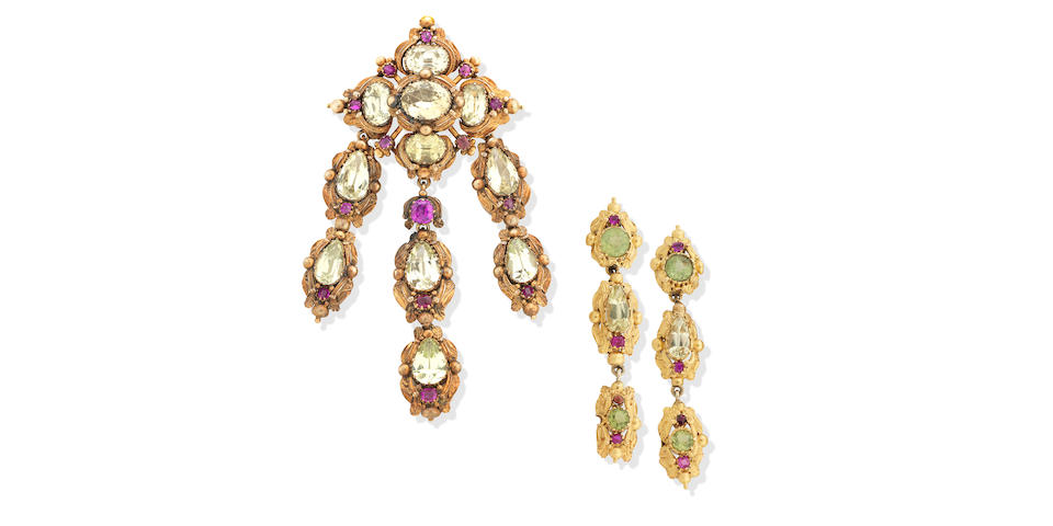 A chrysoberyl and ruby demi-parure, circa 1840