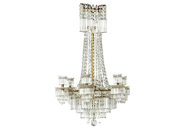 A late 19th/early 20th century six light cut glass and brass chandelier