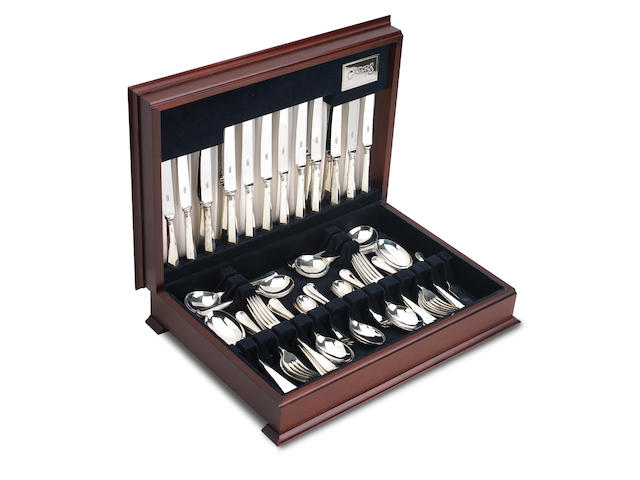 A cased canteen of modern silver flatware by Carrs of Sheffield, 1992
