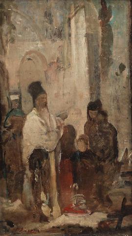 Nikiforos Lytras (Greek, 1832-1904) A moment of prayer  31.5 x 18.5 cm.