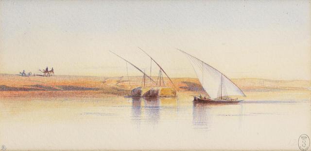 Edward Lear (British, 1812-1888) Boats on the Nile