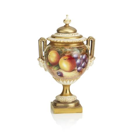 A Royal Worcester fruit painted vase and cover, by J. Cook Circa 1960