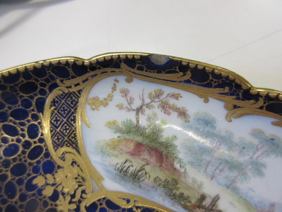A Sevres-style blue ground ecuelle, cover and stand 19th century