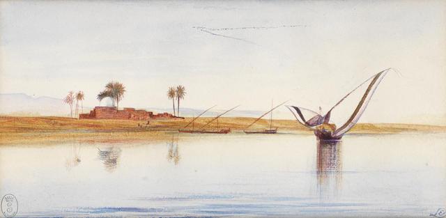 Edward Lear (British, 1812-1888) Boats on the Nile near Deir El Kadige