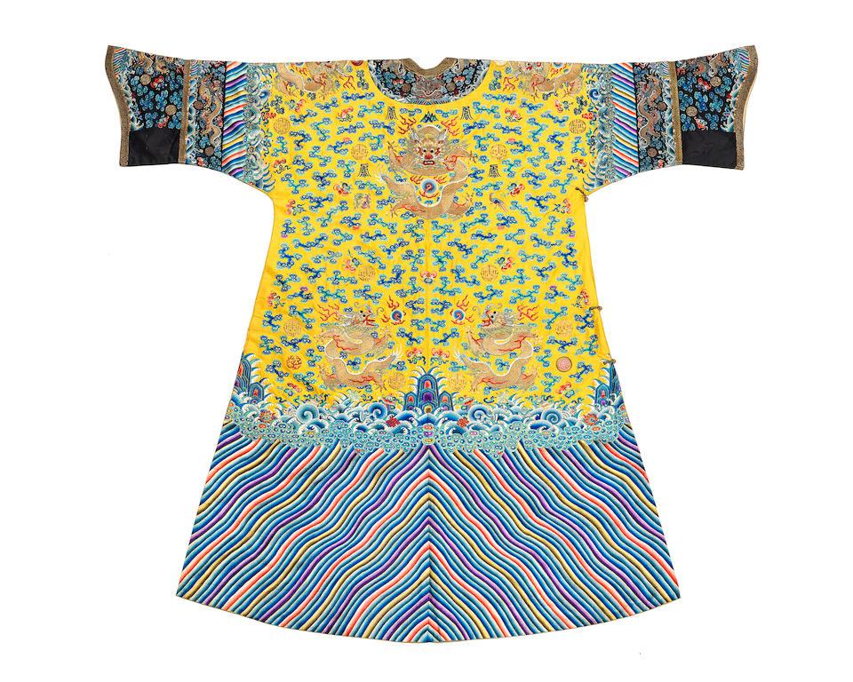 A rare Imperial embroidered yellow-ground Twelve-Symbol dragon robe, jifu 19th century