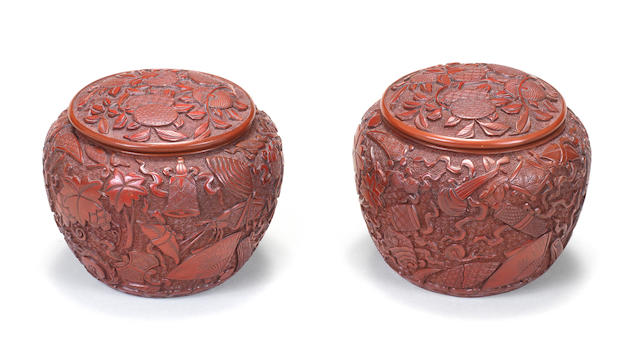 A very rare pair of carved cinnabar-lacquer 'weiqi' boxes and covers Late 16th/early 17th century (4)