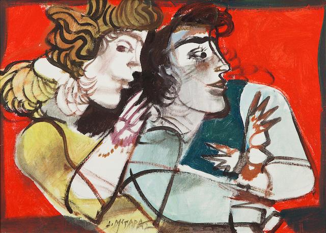 Dimitris Mytaras (Greek, 1934-2017) Two figures  50 x 70 cm.