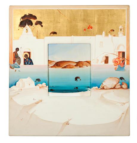 Georgios Derpapas (Greek, 1937-2014) Untitled 1987   74.5 x 69 x 3 cm. (Painted in 1987.)